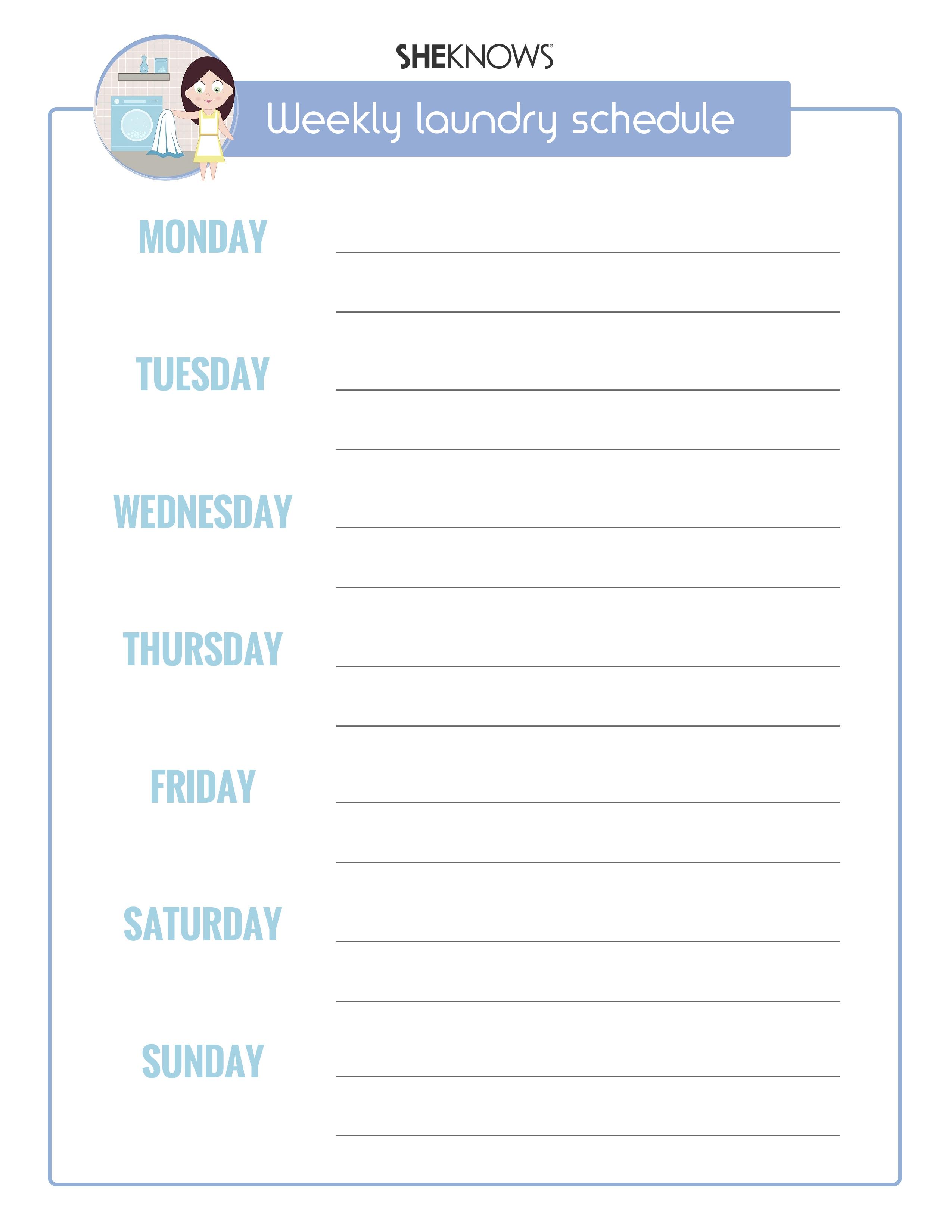 Laundry calendar printable | SheKnows.com version 1