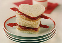 Peanut Butter and Jelly Heart Sandwiches