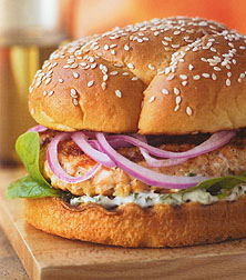 Fresh Salmon Burgers with Cilantro Mayonnaise Recipe