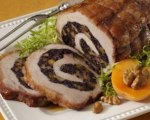 Stuffed Pork Loin with Forbidden Rice, Apricot and Walnut Stuffing