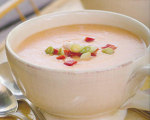 Roasted Red Pepper, Leek, and Potato Cream Soup