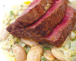Jamie Oliver's Grilled Steak with White Beans and Leeks