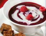 Raspberry and White Chocolate Swirl Soup with Brownie Croutons