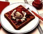 Cookies and Cream Waffles with Raspberry Sauce