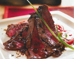 Flat Iron Steak with Tomatoes and Anchovy Vinaigrette