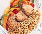 Pork Tenderloin with Cashew Rice and Garlic-Cilantro Butter
