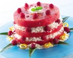 Watermelon Faux Cake with Coconut Raspberry Filling