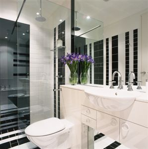301 moved permanently for Black and white tile bathroom ideas