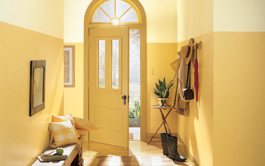 Yellow Foyer Ideas : Red yellow orange themes a stunning first impression