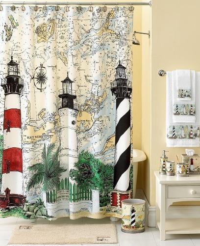 Bathroom decorating ideas nautical theme for Lighthouse bathroom ideas