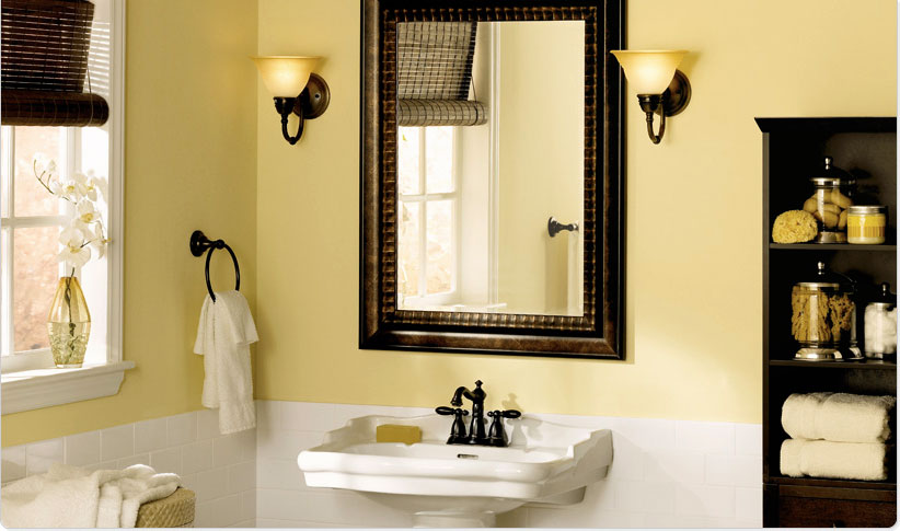 red yellow orange themes powder room posh bathroom