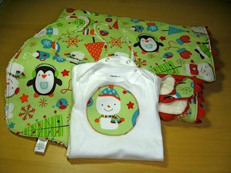 christmas onesie + burp cloth set