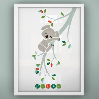 sleepy koala nursery print