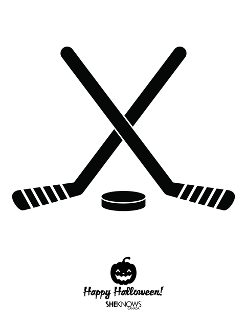 Pumpkin Carving Template - Hockey Sticks